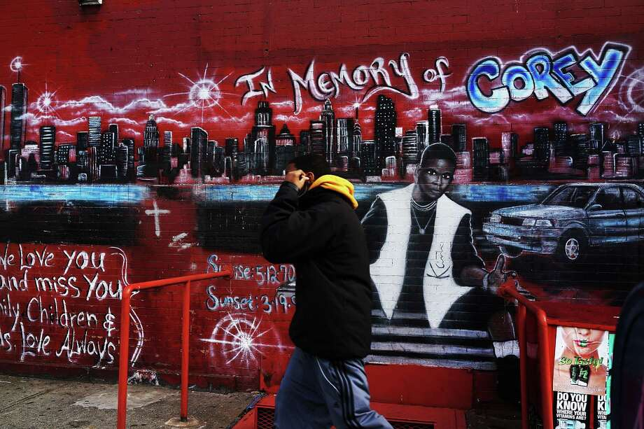 NEW YORK, NY - JANUARY 17:  A graffiti memorial adorns a wall in memory of a man who was shot and killed in the Bedford-Stuyvesant neighborhood on January 17, 2013 in the Brooklyn borough of New York City. Visual memorials honoring residents who in many cases met violent ends decorate many Brooklyn neighborhoods. New York Governor Andrew Cuomo recently signed into law the New York Secure Ammunition and Firearms Enforcement Act, one of the toughest gun laws in the country. Photo: Spencer Platt, Getty Images / 2013 Getty Images