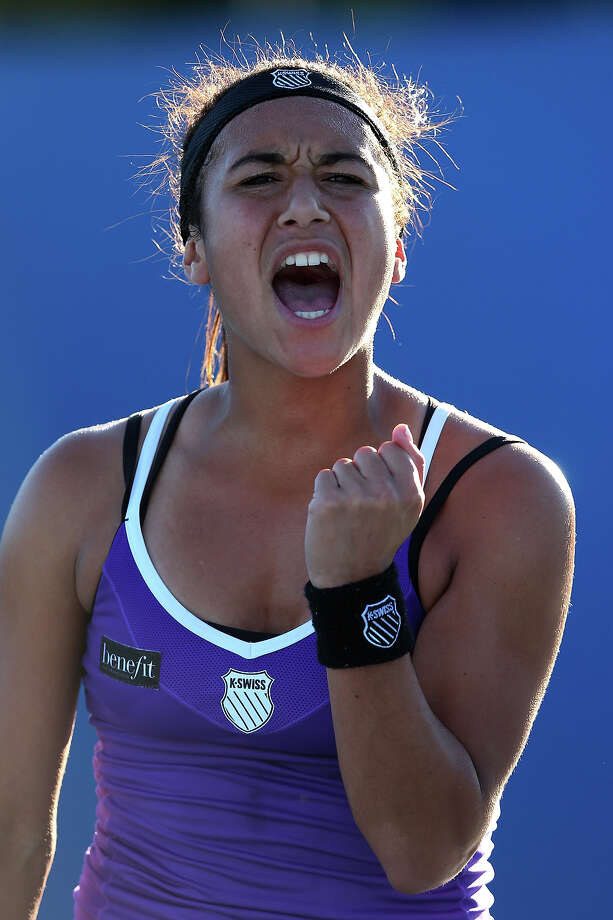 Heather Watson of Great Britain celebrates a point in her first round match against Alexandra Cadantu of Romania during day one of the 2013 Australian Open at Melbourne Park on January 14, 2013 in Melbourne, Australia. Photo: Julian Finney, Getty Images / 2013 Getty Images