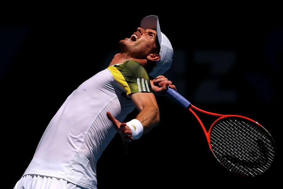 Andy Murray of Great Britain serves in his first round match against Robin Haase of the Netherlands during day two of the 2013 Australian Open at Melbourne Park on January 15, 2013 in Melbourne, Australia. Photo: Cameron Spencer, Getty Images / 2013 Getty Images