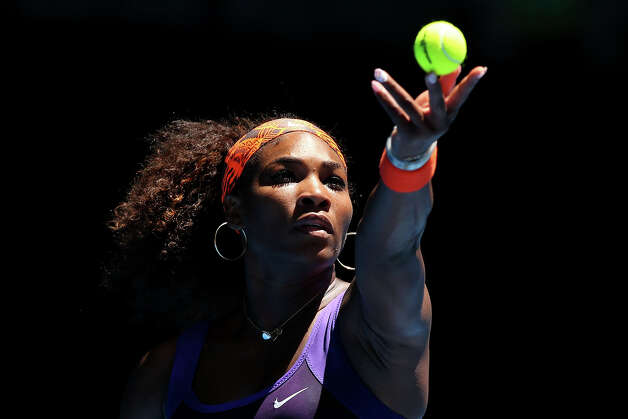 Serena Williams of the United States serves in her first round match against Edina Gallovits-Hall of Romania during day two of the 2013 Australian Open at Melbourne Park on January 15, 2013 in Melbourne, Australia. Photo: Michael Dodge, Getty Images / 2013 Getty Images