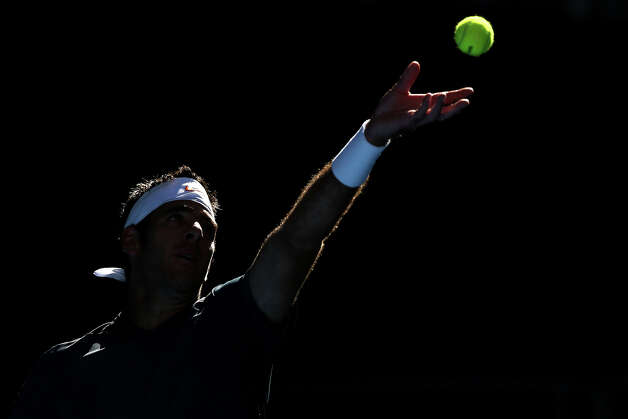Juan Martin Del Potro of Argentina serves in his first round match against Adrian Mannarino of France during day two of the 2013 Australian Open at Melbourne Park on January 15, 2013 in Melbourne, Australia. Photo: Michael Dodge, Getty Images / 2013 Getty Images