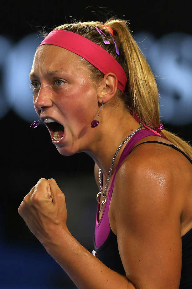 Yanina Wickmayer of Belgium celebrates winning a point in her first round match against Jarmila Gajdosova of Australia during day two of the 2013 Australian Open at Melbourne Park on January 15, 2013 in Melbourne, Australia. Photo: Quinn Rooney, Getty Images / 2013 Getty Images