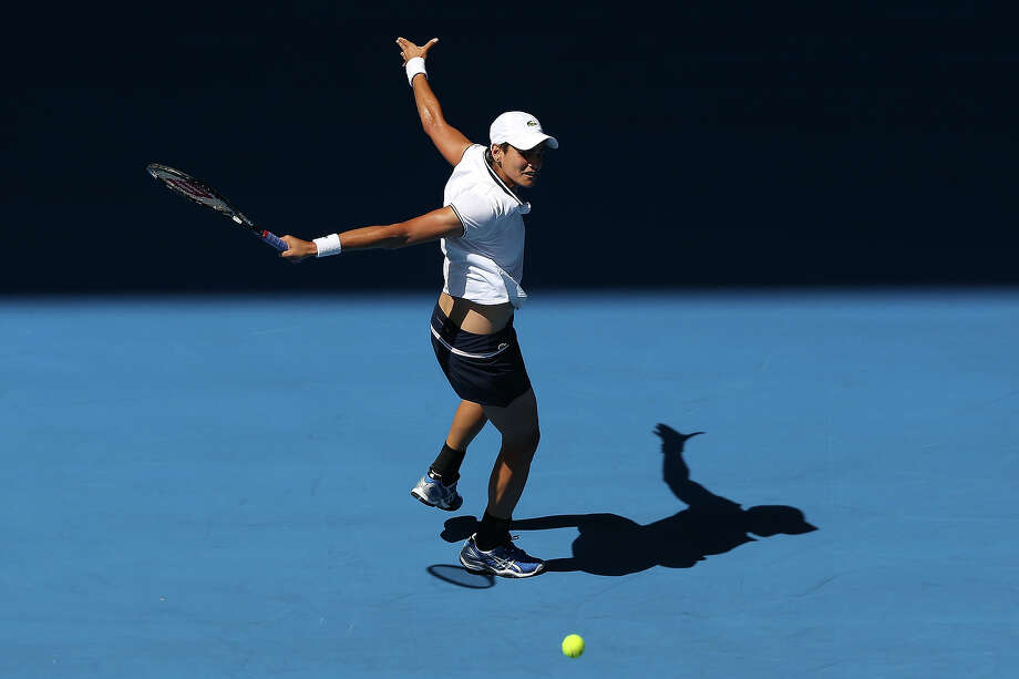 Eleni Daniilidou of Greece plays a backhand in her second round match against Victoria Azarenka of Belarus during day four of the 2013 Australian Open at Melbourne Park on January 17, 2013 in Melbourne, Australia. Photo: Michael Dodge, Getty Images / 2013 Getty Images