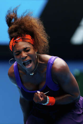 Serena Williams of the United States of America celebrates winning a point in her second round match against Garbine Muguruza of Spain during day four of the 2013 Australian Open at Melbourne Park on January 17, 2013 in Melbourne, Australia. Photo: Lucas Dawson, Getty Images / 2013 Getty Images