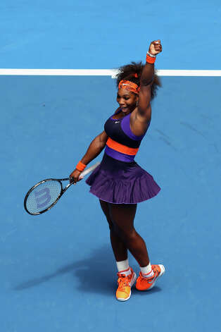 Serena Williams of the United States of America celebrates winning her second round match against Garbine Muguruza of Spain during day four of the 2013 Australian Open at Melbourne Park on January 17, 2013 in Melbourne, Australia. Photo: Quinn Rooney, Getty Images / 2013 Getty Images