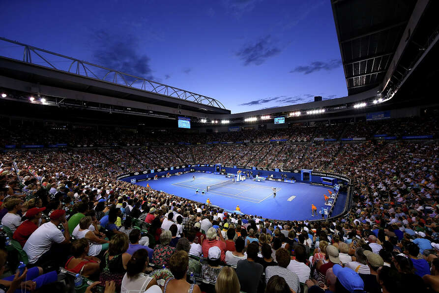 A general view of Rod Laver Arena during the second round match between Nikolay Davydenko of Russia