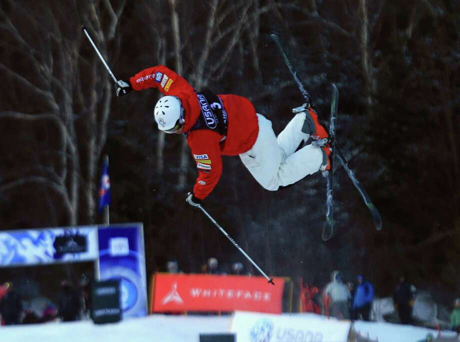 LAKE PLACID, NY - JANUARY 17: Bryon Wilson #3 of the USA skiis to a fourth place finish in the USANA Freestyle World Cup Moguls competition at Whiteface Mountain on January 17, 2013 in Lake Placid, New York. Photo: Bruce Bennett, Getty Images / 2013 Getty Images
