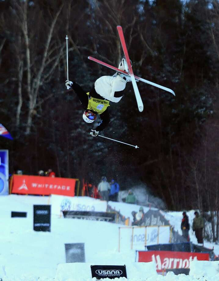 LAKE PLACID, NY - JANUARY 17:  Mikael Kingsbury of Canada skiis down the course in the final round leading to his first place finish in the USANA Freestyle Men's World Cup Moguls competition at Whiteface Mountain on January 17, 2013 in Lake Placid, New York. Photo: Bruce Bennett, Getty Images / 2013 Getty Images