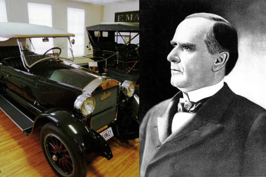 William McKinley – McKinley is widely credited as the first president to ride in a car. The 25th president took a short drive in Stanley Steamer, a steam-powered vehicle. The adoption of automobiles for the presidential motorcade wouldn't come until William Taft replaced horses with a fleet of cars.