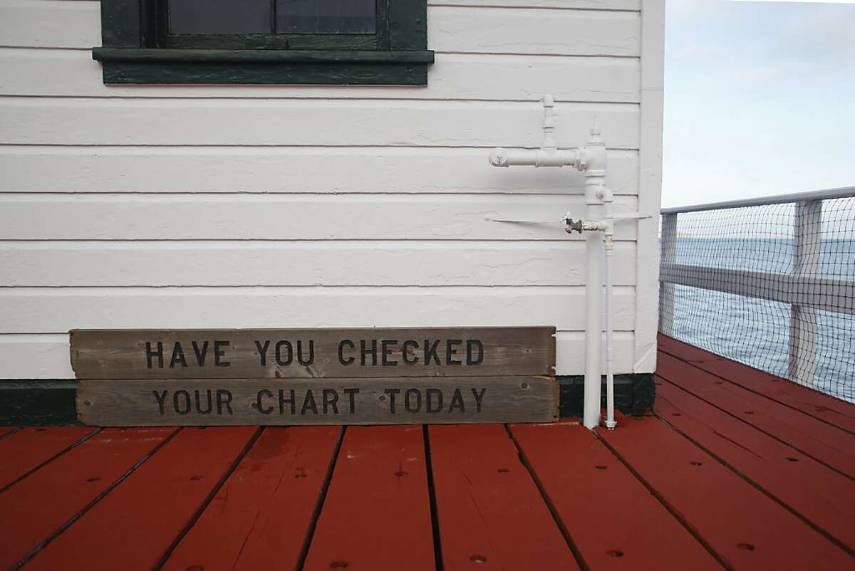 A sign reminding boaters to check their chart rest against the Tide Gauge House where the oldest continuously operating tidal gauge in the Americas tracks sea level rise on the west coast on Monday Nov. 27, 2012 in San Francisco, Calif.