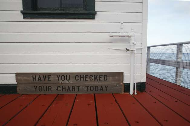 A sign reminding boaters to check their chart rest against the Tide Gauge House where the oldest continuously operating tidal gauge in the Americas tracks sea level rise on the west coast on Monday Nov. 27, 2012 in San Francisco, Calif. Photo: Mike Kepka, The Chronicle