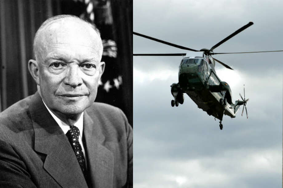 Dwight Eisenhower – Helicopters were first used in 1947, but it would take 10 years before a U.S.  president began using the aircraft. Eisenhower took the first flight in 1947.Source:History Channel
