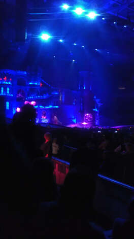 Lady Gaga's stage consisted of a medieval-looking castle, from which she emerged in a dark warrior-like costume on a horse led by her dancers.
