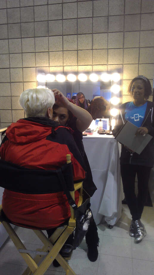 A Skype makeup artist  put fresh faces on attendees of the show, as well as painted-on tattoos.