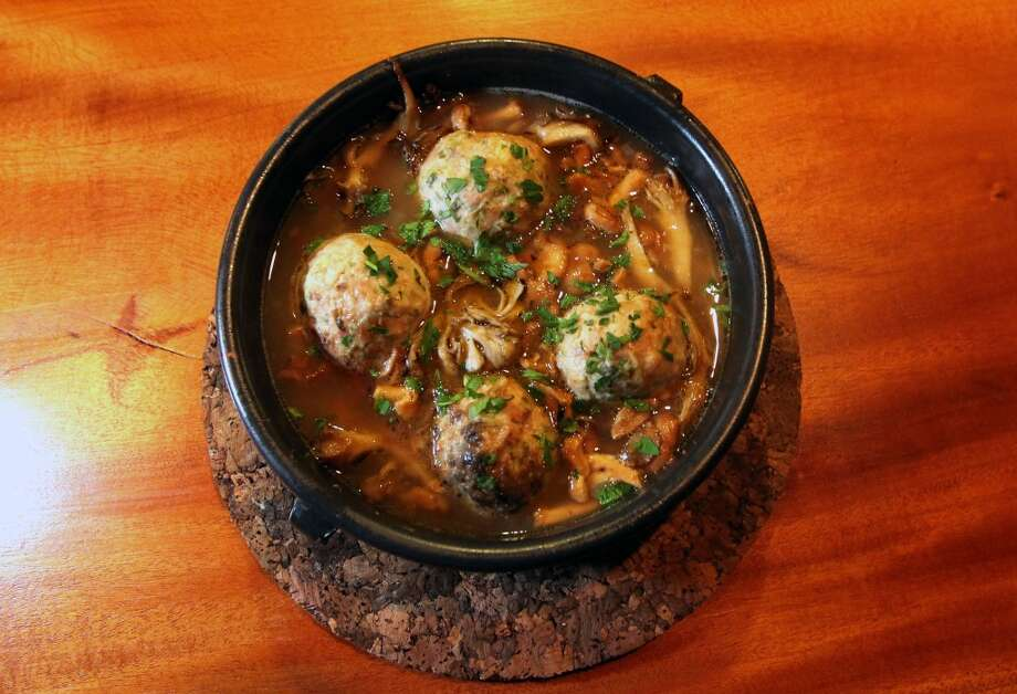 Albondigas with green garlic, pork, wild mushrooms, lemon ($15.50)