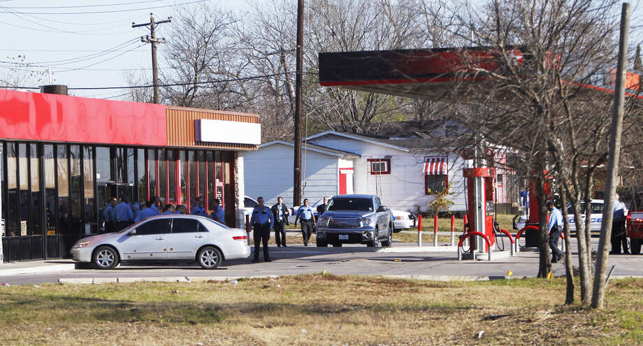 A gas station is seen where witnesses reported seeing a gunman open fire. Photo: Cody Duty, .