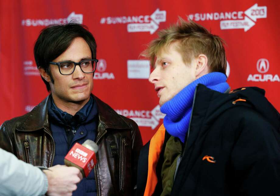 "Actor Gael Garcia Bernal, left, and director Marc Silver are interviewed at the premiere of ""Who Is Dayani Cristal?"" during the 2013 Sundance Film Festival on Thursday, Jan. 17, 2013 in Park City, Utah. (Photo by Danny Moloshok/Invision/AP) Photo: Danny Moloshok"