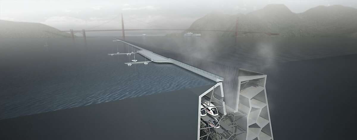 A rendering of Folding Water, a new type of levee that could protect the bay's shoreline from rising sea levels while minimizing environmental and aesthetic impacts.