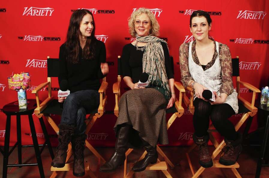 (L-R) Writer Sarah Koskoff, actress Blythe Danner and actress Melanie Lynskey speak at Day 1 of The