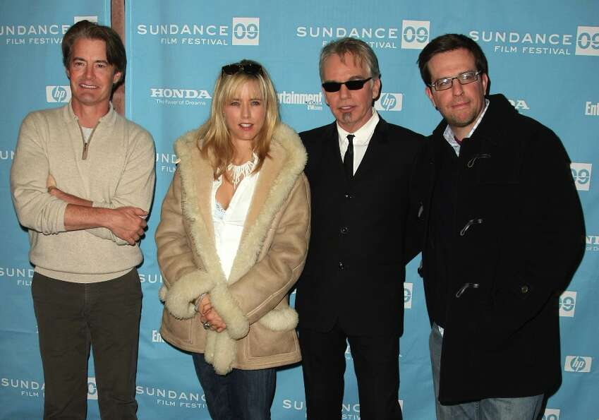 (L-R) Actors Ed Helms, Tea Leoni, Billy Bob Thornton and  Ed Helms attend the premiere of Manure hel