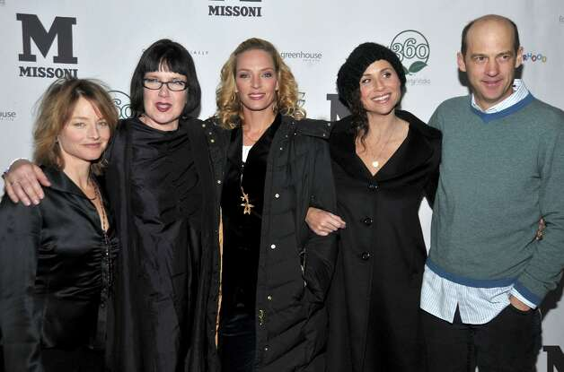 (L-R) Actress Jodie Foster, director Katherine Dieckmann, and actors Uma Thurman, Minnie Driver and Anthony Edwards attend the pre-party for the premiere of Motherhood held at Greenhouse at the Sky Lodge during the 2009 Sundance Film Festival on January 21, 2009 in Park City, Utah. Photo: Frazer Harrison, Getty Images / 2009 Getty Images