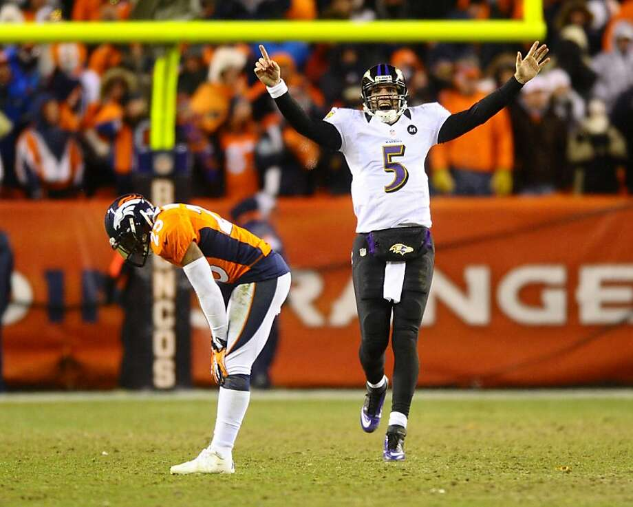 Baltimore's Joe Flacco celebrates his 70-yard TD pass last week, which should have been intercepted. Photo: Mark Reis, McClatchy-Tribune News Service