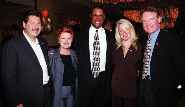 The Spurs Foundation held it's Tip -Off Luncheon on Oct. 29, 2001. Shown (L-R) are Russ Bookbinder, board member, Lana Breakie, board member, Johnny Moore, board member, Mari Vickery, board member, Peter Holt, owns the team. ANTHONY PADILLA/SPECIAL TO THE EXPRESS-NEWS Photo: ANTHONY PADILLA, Express-News / SAN ANTONIO EXPRESS-NEWS
