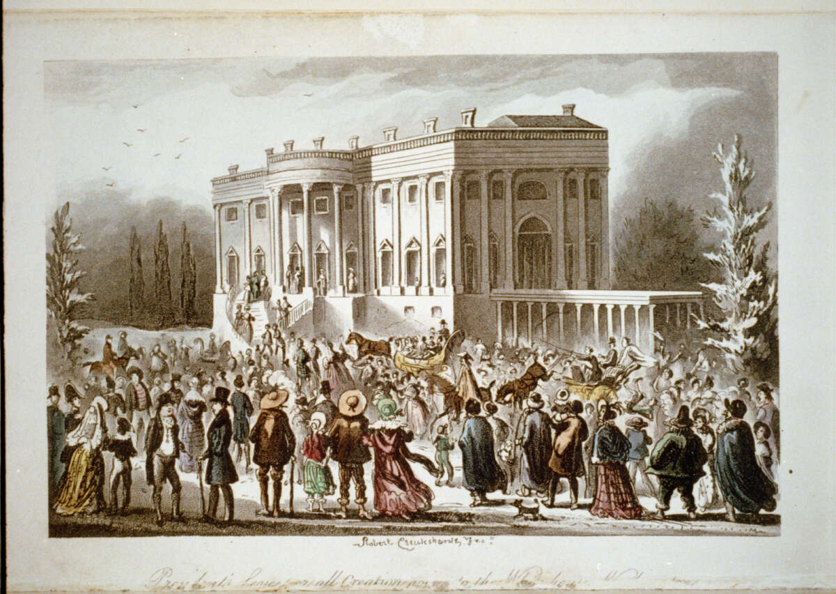 President's Levee, or All Creation Going to the White House, by Robert Cruikshank depicts the crowd in front of the White House during Andrew Jackson's first inaugural reception in 1829.