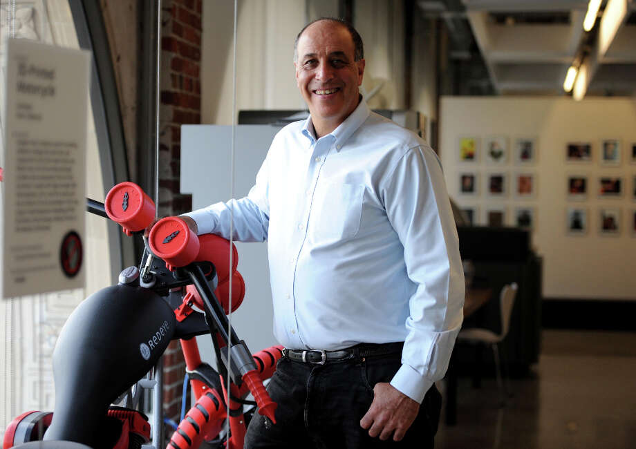 54. AutodeskNo. of employees: 3,012The 3D-design software company, based in San Rafael, encourages a culture of 'mature directness' and honest feedback with superiors. In this picture from Nov. 3, 2011, CEO Carl Bass poses with a 3D motorcycle prototype. Photo: Susana Bates, Special To The Chronicle / SFC