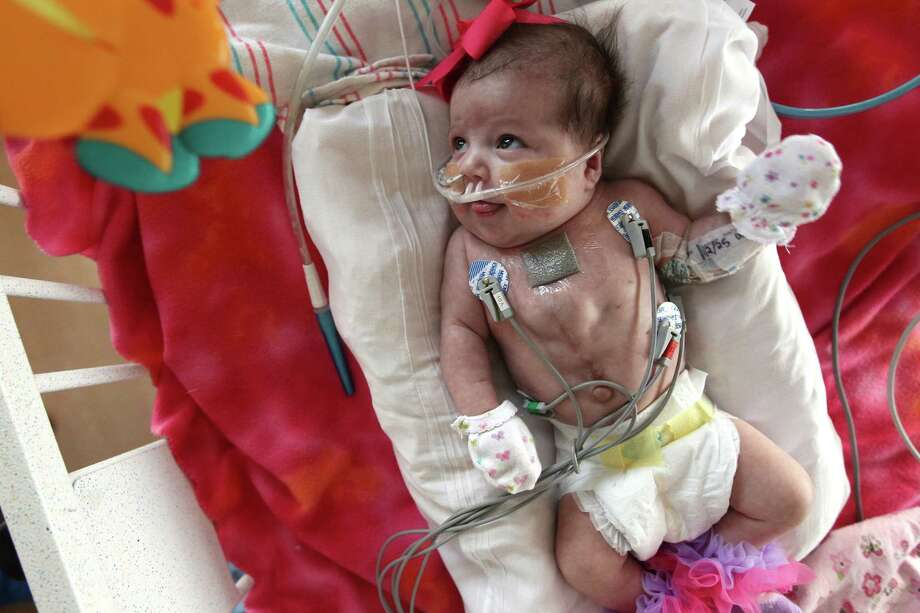 Audrina Cardenas is days away from moving out of the NICU at Texas Children's Hospital on Friday, Dec. 28, 2012, in Houston. Photo: Mayra Beltran, Houston Chronicle / © 2012 Houston Chronicle