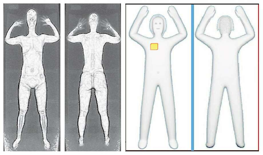 Images of passengers seen with backscatter X-rays, left, and millimeter waves. Photo: Uncredited, Associated Press