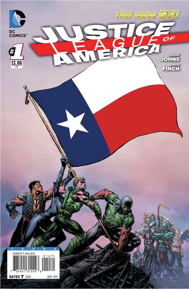 The Texas variant cover to 'Justice League of America' No. 1, a new DC Comics series by writer Geoff Johns and artist David Finch. The comic launches Feb. 20 with special variant covers for each of the 50 states and Puerto Rico. Photo: DC Comics
