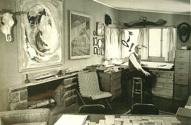 Architect Victor Civkin sitting in his studio in his Fairfield, Conn. home, taken by Connecticut Post photographer Ed Brinsko in 1959. Photo: Contributed Photo