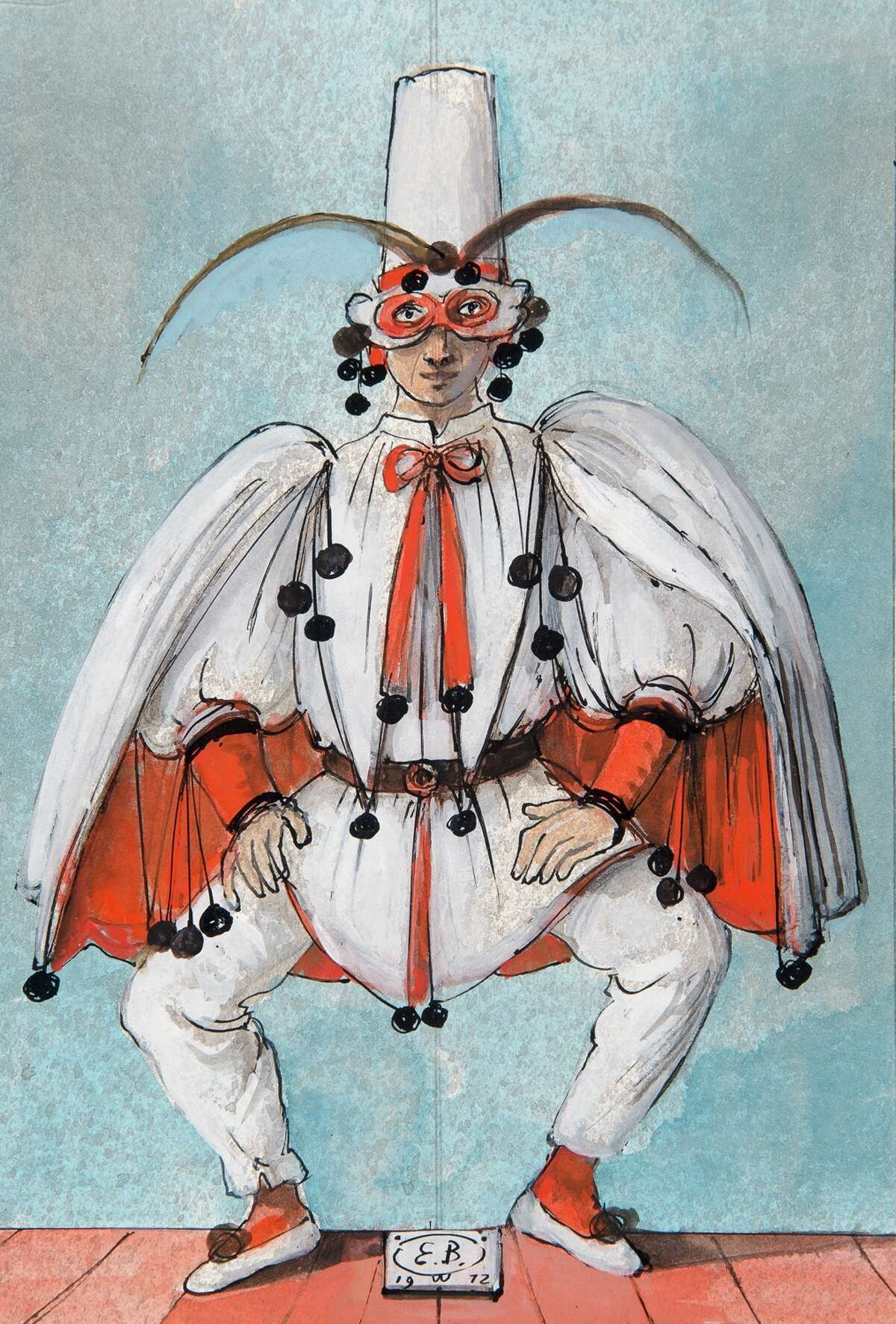 """Eugene Berman's costume design for """"Pulcinella,"""" 1972, is featured in """"Fiesta, Fete, Festival"""" at the McNay Art Museum."""