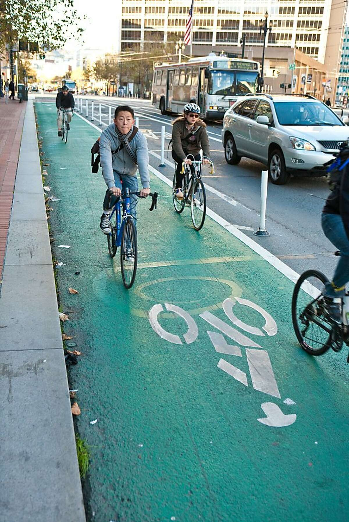 Bicyclists on Market Street