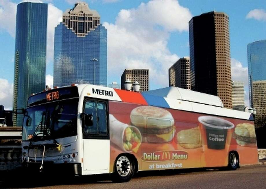 An artist's conception of a Metro bus with advertising on the exterior. The agency is considering a proposal to sell ad space.