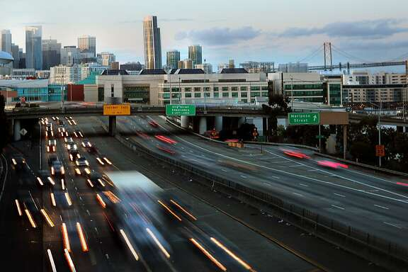 Leaving downtown on 280 - 5:50p.m. in San Francisco.  Coming onto 280 highway from downtown 6th street and the Embarcadero is always a weekday rush.  I like taking the city streets instead during this time.  Camera settings: ISO 125, f20, 1second, 90mm, Canon EOS 5D Mark II