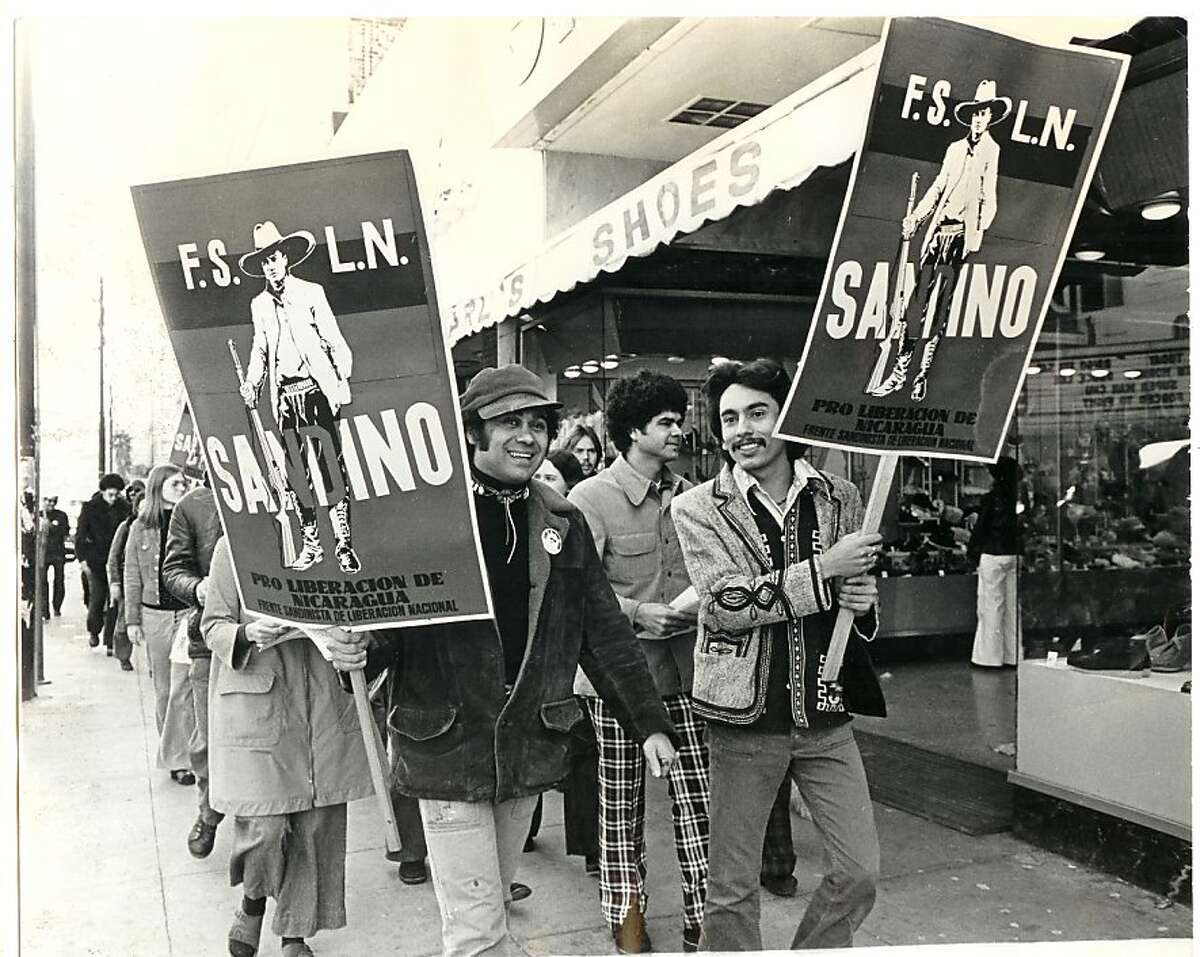 Writers Roberto Vargas (left) and Alejandro Murguía march for Nicaraguan solidarity in San Francisco in 1974.