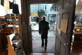 San Francisco's sixth Poet Laureate Alejandro Murguia strolls through the Mission District visiting some of his favorite haunts, like Alley Cat Book Store. His walks inspire his poems. Wednesday Jan 11, 2013, in San Francisco, California.