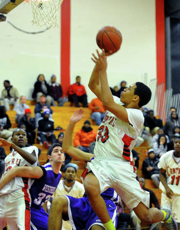 Central's Marcus Blackwell looks for two, during boys basketball action against Westhill in Bridgeport, Conn. on Friday January 18, 2013. Photo: Christian Abraham / Connecticut Post