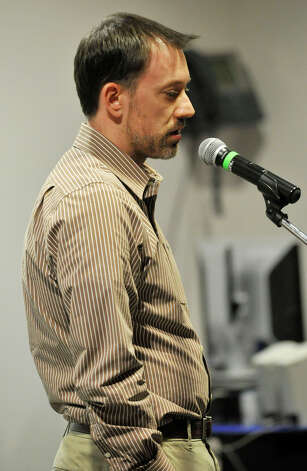 Adam Foley speaks during the community meeting at Newtown High School discussing the fate of Sandy Hook Elementary School on Friday, Jan. 18, 2013. Photo: Jason Rearick / The News-Times