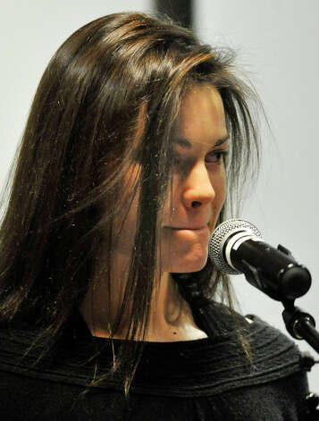 Former Sandy Hook Elementary School student Jackie Hornak speaks during the community meeting at Newtown High School discussing the fate of Sandy Hook Elementary School on Friday, Jan. 18, 2013. Photo: Jason Rearick / The News-Times