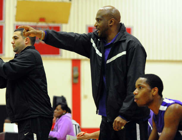 Westhill Head Coach Howard White, during boys basketball action against Central in Bridgeport, Conn. on Friday January 18, 2013. Photo: Christian Abraham / Connecticut Post
