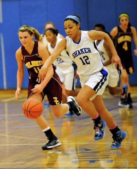 Shaker's Madison Rowland (12) moves the ball against Colonie during their basketball game in Latham,