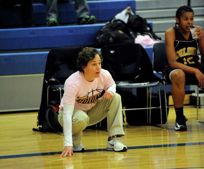 Colonie head coach Heather Fiore coaches her team against Shaker during their basketball game in Lat