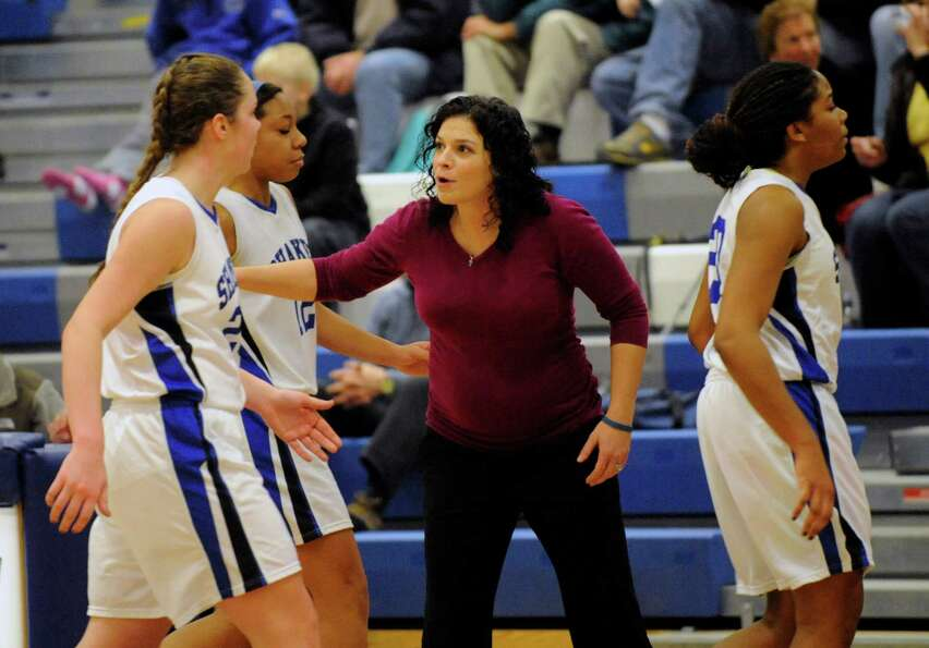 Shaker head coach Emily Caschera -Blowers coaches her team against  Colonie during their basketball