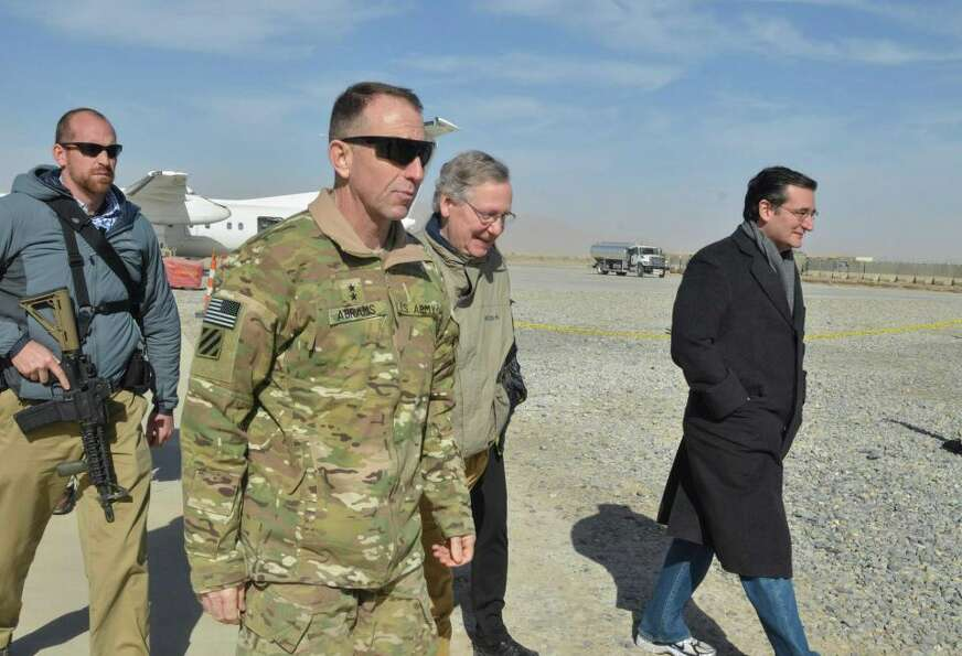 Sen. Ted Cruz arriving at RC South in Kandahar.