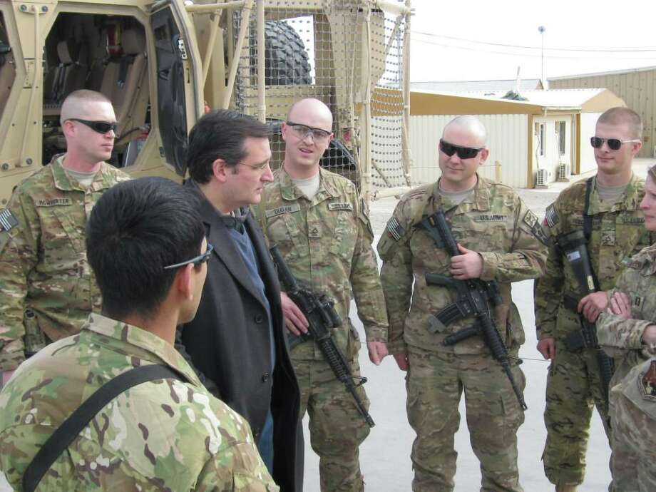 Sen. Ted Cruz visiting with troops in Kandahar.