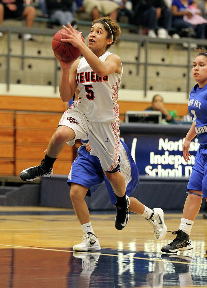 Stevens' Samira Rodriguez (05) goes up for a shot against Jay during girls basketball at Paul Taylor Fieldhouse on Saturday, Jan. 19, 2013. Jay defeated Stevens in overtime, 51-47. Photo: Kin Man Hui, Express-News / © 2012 San Antonio Express-News
