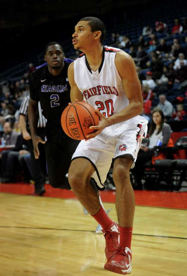 Fairfield University freshman Marcus Gilbert plays versus Niagara at the Webster Bank Arena in Bridgeport on Sunday, January 13, 2013. Photo: Brian A. Pounds